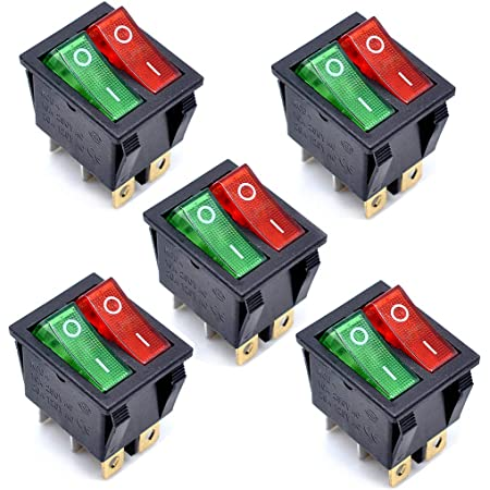 Oiyagai KCD4 AC 250V 16A luz roja verde 6P terminales ON/OFF doble SPST 2 vías Snap in Boat Rocker Switch