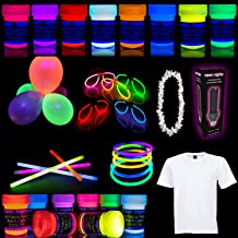 Party Set [L] neon nights Fun-Pack 44 pieces with UV Body Paint + Fabric Glow Paints + Black Light Bulb + Glow Sticks | Blacklight Decoration Box