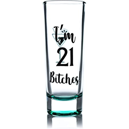 Amazon Com Greenline Goods Shot Glass 21st Birthday Shot Glass I M 21 Bitches 21st Birthday Party Decorations 1 Glass Funny Colored Shot Glass Shot Glasses