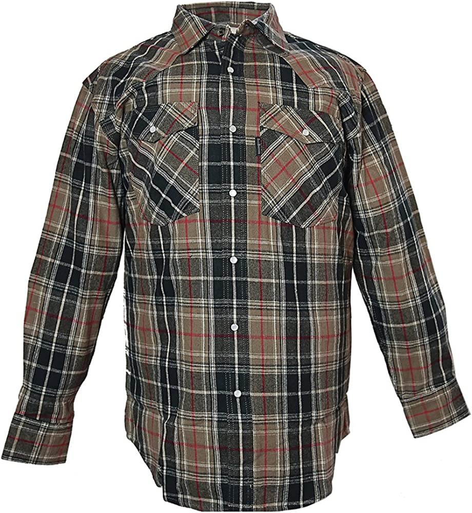 Five Brother Men's Heavyweight Regular Fit Western Flannel Shirt, Big 3XL Taupe, 5201B PL-2A