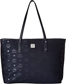 MCM Dieter Monogrammed Nylon Top Zip Medium Shopper