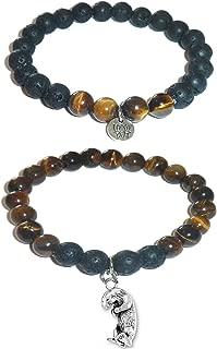 Aromatherapy Women's Tiger Eye & Black Lava Essential Oil Diffuser Beads Charm Stretch Bracelet Gift Set.
