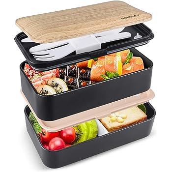 homeasy Bento Box Hermético, Lunch Box de Bambú de 2 Recipiente 1200ml 3 Cubiertos, Lunch Box para Adultos y Niños, Tupper Compartimento, Caja de Bento para Microondas y Lavavajillas