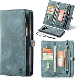 Note 9 Wallet Case, Esing Premium Folio Zipper Purse Leather Cover Cases for Samsung Galaxy Note 9 Detachable with Flip Credit Card Slots Stand Holder(Blue)