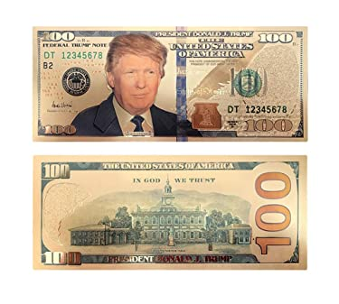 blinkee 100 USD President Donald Trump Collectible Gold Plated Fake Bank Note