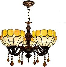 Tiffany Style Iron Kroonluchter, Mediterraan Gebrandschilderd Glas Plafond Hanger Verlichtingsarmatuur, Hanglampen 5-verli...