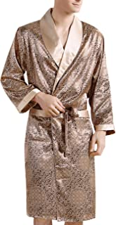 ecd76a0e24 Yiwa Men s Comfortable Sleepwear 100% Silk Satin Robe Bathrobe Luxury  Loungewear Golden 3XL