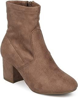 Alrisco Women Faux Suede Round Toe Block Heel Sock Bootie HE83