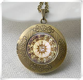 Compass Locket Necklace Jewelry Locket