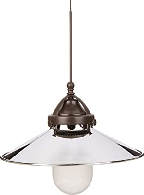 WAC Lighting MP-LED481-CH//DB Freeport Early Electric Collection 1-Light LED Monopoint Pendant with Chrome Shade and Dark Bronze Finished Cord