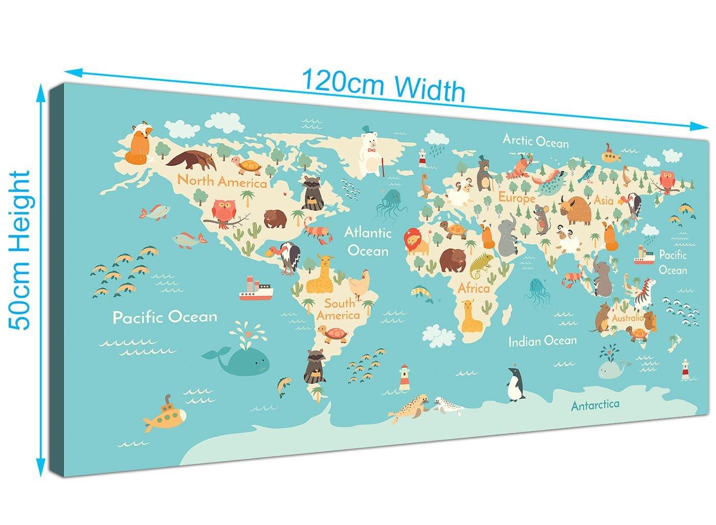 Animal mapa del mundo Atlas lienzo para habitación infantil – Educational Kids imágenes – diseño – 120 cm de ancho – 1293: Amazon.es: Hogar