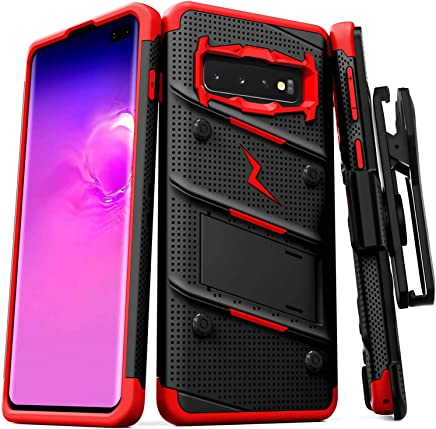Zizo Bolt Series Compatible with Galaxy S10 Plus Case Military Grade Drop Tested with Built in Kickstand Holster Black Red