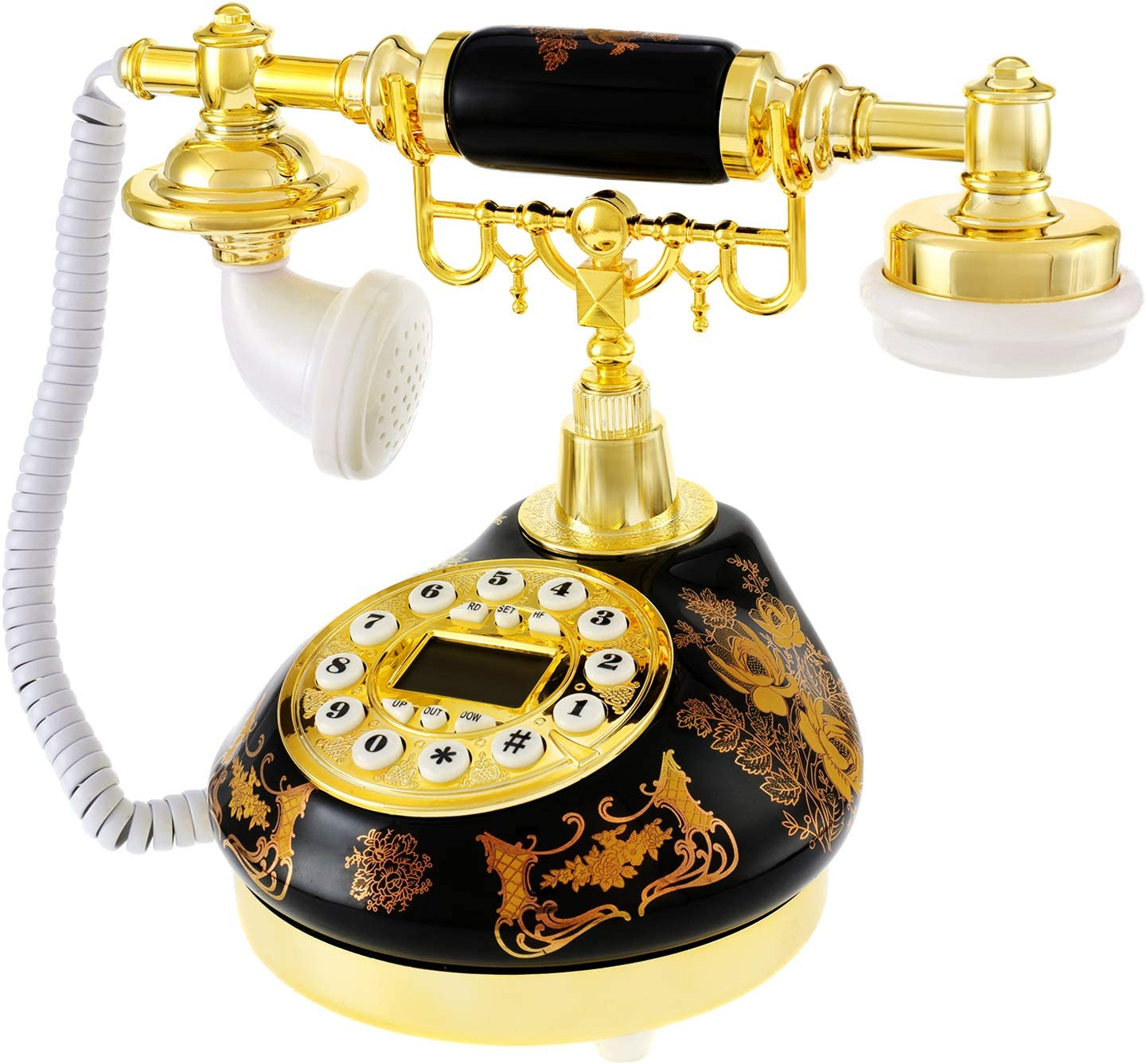 Dyna-Living Retro Vintage Phone Antique Telephone Landline Old Fashioned Telephones with Push Button LCD Display Classic Ceramic Retro Desktop Phone for Home Decor