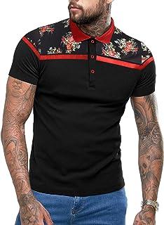 Men's American Flag Polo Shirt Floral Print Short Sleeve Polo T-Shirts