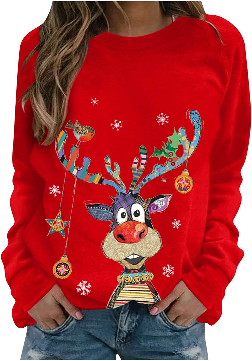 Christmas Sweatshirt sold out for Women Funny with Color Reindeer Ornamen Cheap sale
