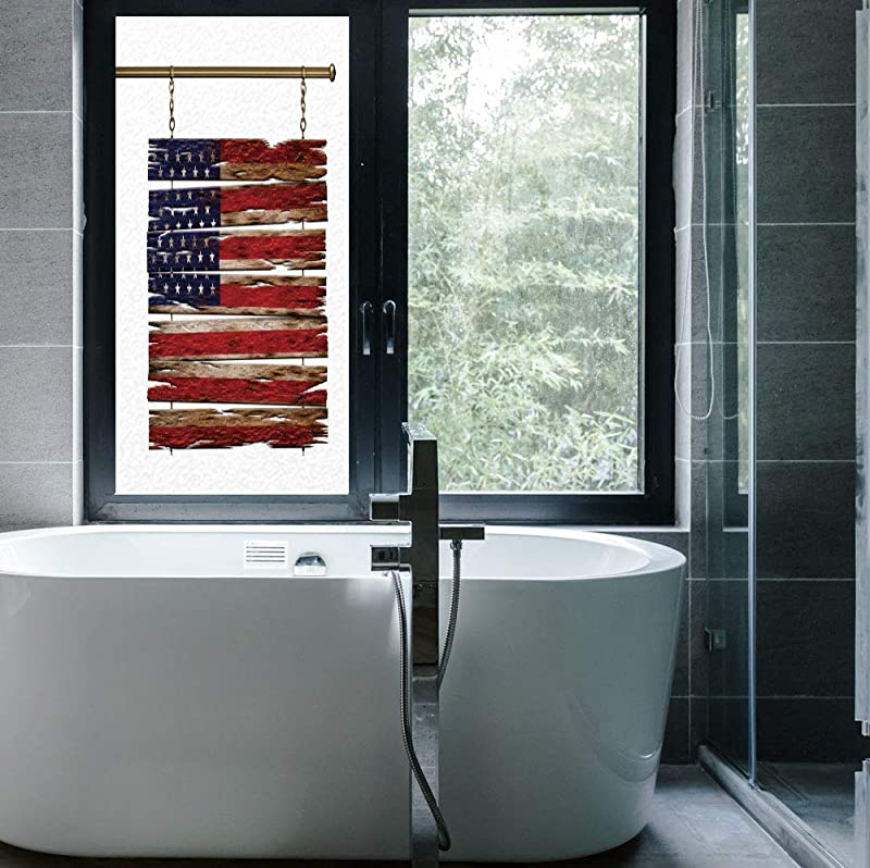 Angel LJH Frosted Window Film Stained Glass Window Film Primitive Country Decor Work Well In The Bathroom United States Flag Painted Wooden Planks 4th Of 24 X48