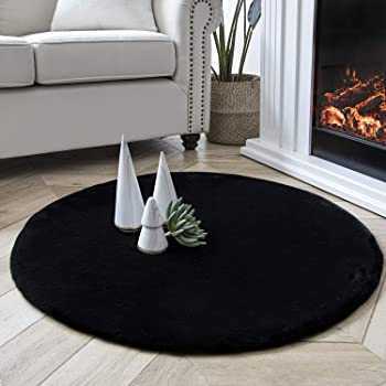 Ashler Ultra Soft Faux Rabbit Fur Chair Couch Cover Area Rug for Bedroom Floor Sofa Living Room Black Round 3 x 3 Feet