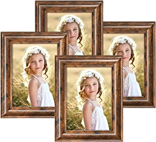 Q.Hou 5x7 Picture Frame Rustic Brown Wood Pattern Photo Frames 4 Packs for Tabletop or Wall Mount (QH002-MD5X7-RB)