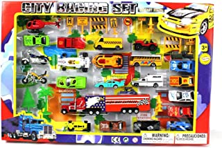 METRO Deluxe City Speed Racing 40Piece Mini Toy Die-Cast Vehicle Play Set, comes with Street Play Mat, Variety of Vehicles
