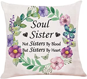 """chillake Best Friend Quotes Pillow Covers, Soul Sister Pillow Case Cushion Cover for Sofa Couch Living Room Home Decor -Best Friend Friendship Quote Gift (18""""x 18""""Inch)"""