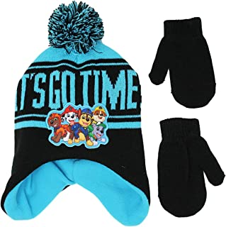 NickJr Toddler Boys Paw Patrol Scandi Hat Beanie with Mittens, Knit with Fleece Lined Cold Weather Stocking Hat