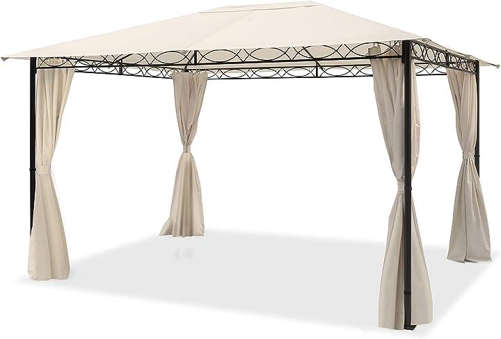 Gazebo giardino 3x4 m - 100% impermeabile con 4 teli laterali - ca. 180g/m² telo del tetto color crema 2177660XQ322880897MINI4