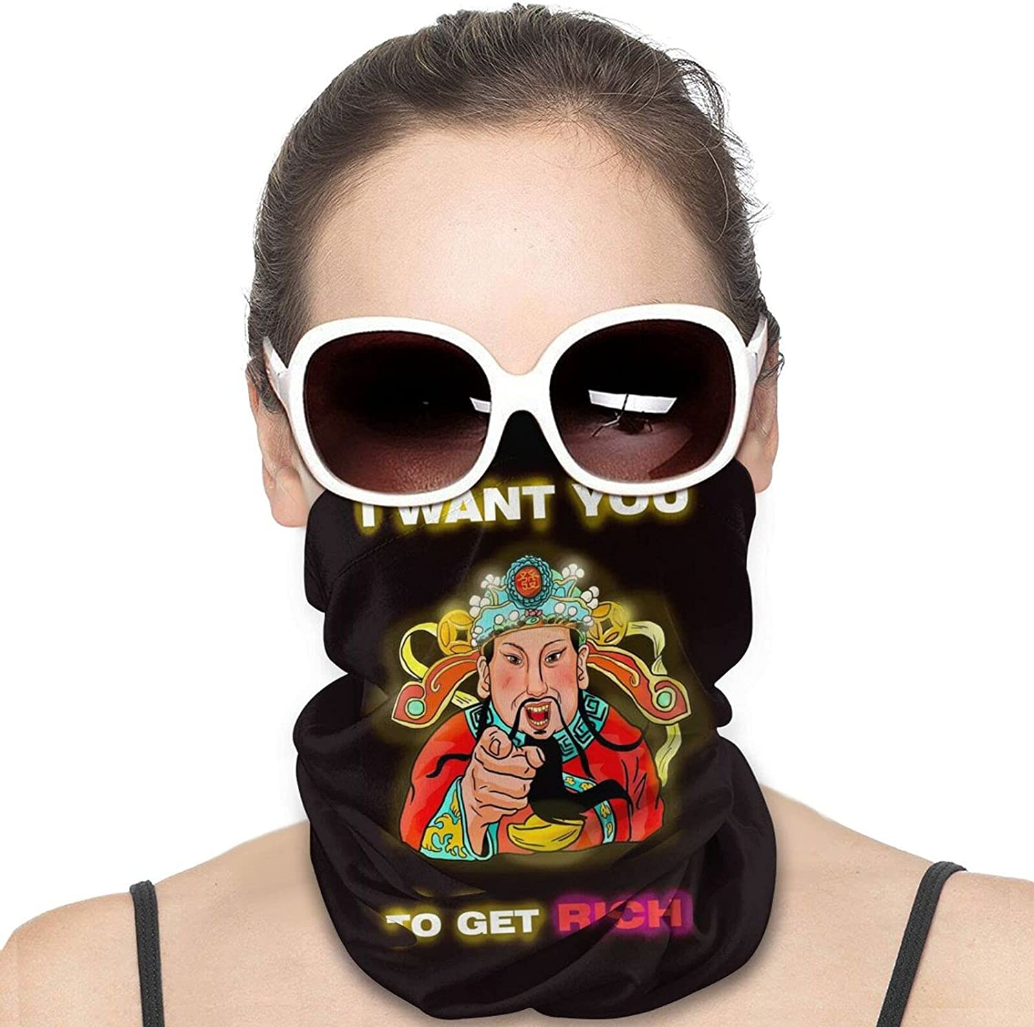 I WANT YOU TO GET RICH Round Neck Gaiter Bandnas Face Cover Uv Protection Prevent bask in Ice Scarf Headbands Perfect for Motorcycle Cycling Running Festival Raves Outdoors
