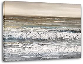 Yihui Arts Beach Pictures Wall Art Hand Painted Heavy Textured Seascape Oil Paintings For Living Room Decoration