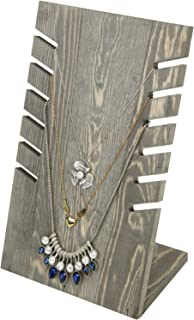 MyGift 6-Slot Vintage Gray Solid Wood Retail Jewelry Display Easel Stand, Necklace Bust Holder Rack