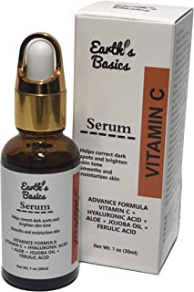 Vitamin C Serum For Face Dark Spot Corrector With Hyaluronic Acid And Botanicals, 1 oz. by Earth's Basics