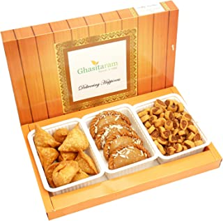Ghasitaram Gifts Indian Sweets (Mumbai), Holi Hampers, Authentic Indian, Gujiya, Farsan Samosa and Bhakar Wadi hamper, 600 Grams