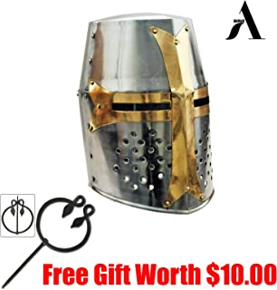 AnNafi Crusader Helmet| Medieval Metal Knight Helmets|Premium Quality with Fitted Leather Liner | Dark Crusades Helmet Wearable for Adult | Medieval Costumes