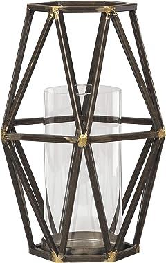 "Ashley Furniture Signature Design - Devo Candle Holder - 9"" W x 9"" D x 12"" H - Black/Gold Finish - 1 Candle Holder"
