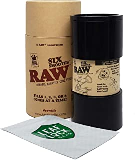 RAW Six Shooter Variable Quantity Cone Filler, with Leaf Lock Gear Smell Proof Pouch