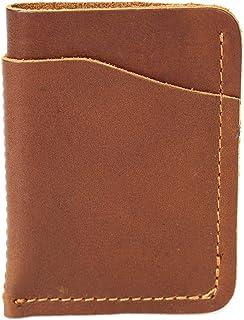 Men's Wallet Card Case Leather Vintage Art Leather Crazy Horse Picnic Bag Holds Small Wallet (Color : Orange, Size : S)