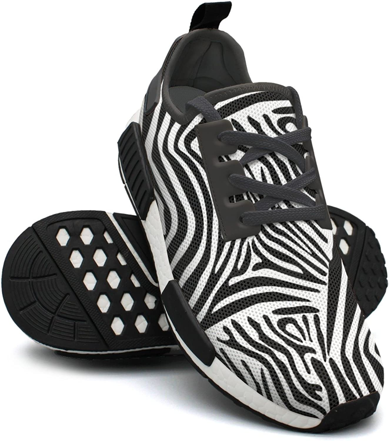 White and Dark Zebra Stripes Sports Basketball Trail Running shoes for Women NMD