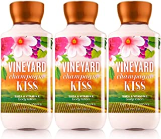 Lot of 3 Bath & Body Works Vineyard Champagne Kiss Shea & Vitamin E Body Lotion (Vineyard Champagne Kiss)