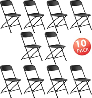 Kealive Folding Chair 10 Pack Fold Chair 330 lbs Weight Capacity for Events, Premium Lifetime Fold Up Chair Portable 18'' L x 18'' W x 31'' H, Black
