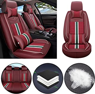 Car Seat Cover for Jaguar F-PACE E-PACE I-PACE F-Type S-Type X-Type Universal Car Seat Protectors 5-Seat Full Set Artificial Leather Waterproof,Easy Install,Lafite Red Deluxe1