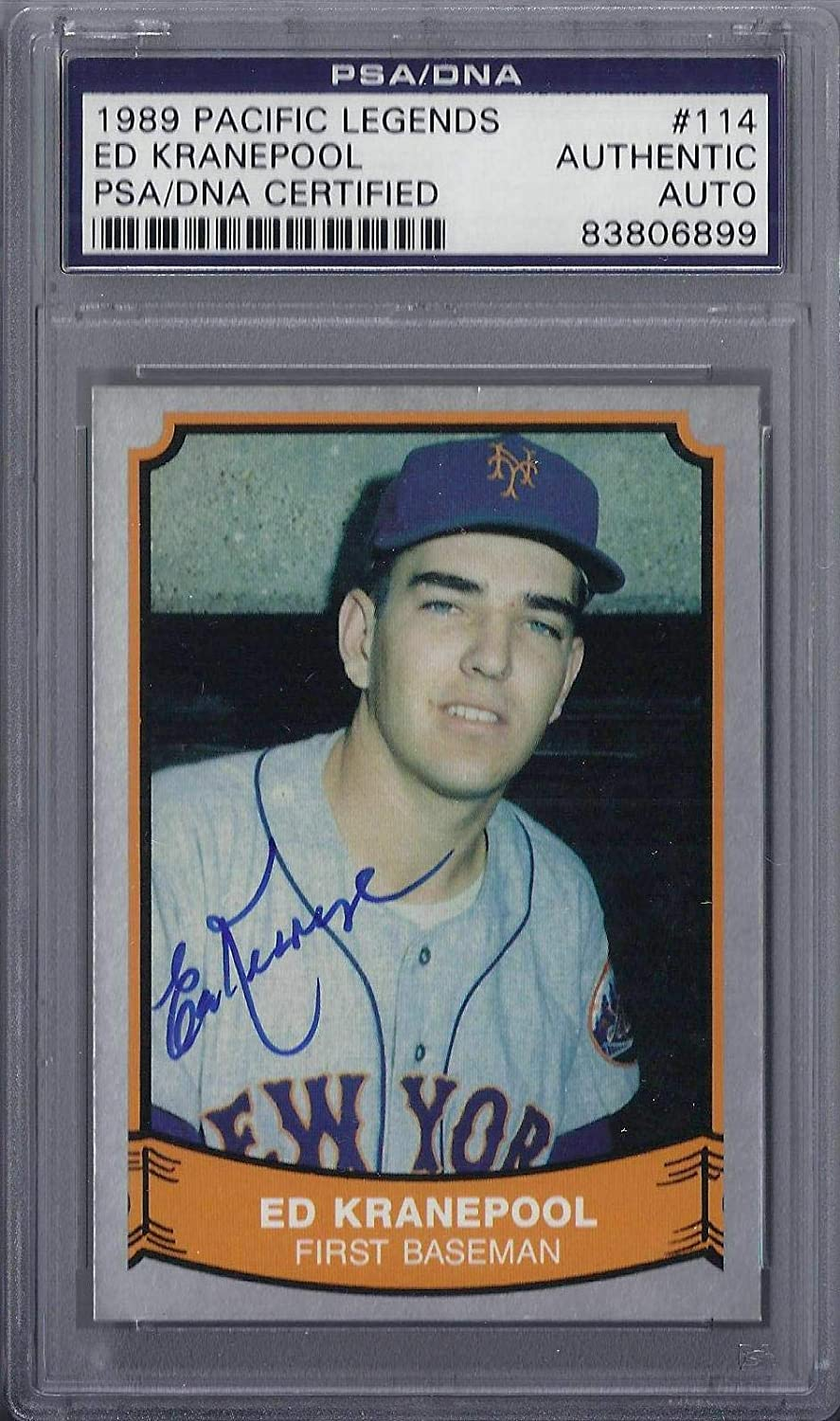 Ed Kranepool Signed 1989 Pacific Legends  PSA DNA Certified  Baseball Slabbed Autographed Cards