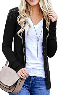 ANRABESS Women`s V Neck Button Down Open Front Long Sleeve Contrast Color Ribbed Casual Cardigans Sweaters
