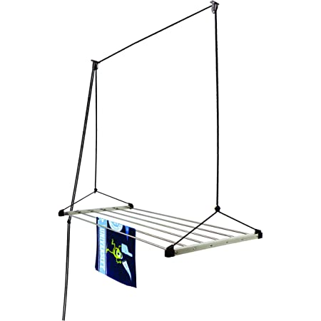 Homwell Heavy Duty Stainless Steel 6 Pipe X 6 Feet (Blue) Economy Model with UV Protected Nylon Rope Ceiling Cloth Drying Stand/Clothes Dryer Stand