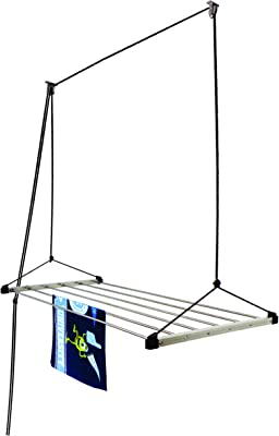 Homwell Rust Proof 6 Pipe X 4 Feet (Blue) with UV Protected Nylon Rope Stainless Steel Ceiling Clothes Hanger/Ceiling Cloth Dryer Rise N Dry