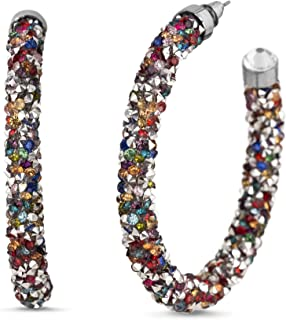 Steve Madden Rainbow Rhinestone Wrapped C Hoop Earrings for Women