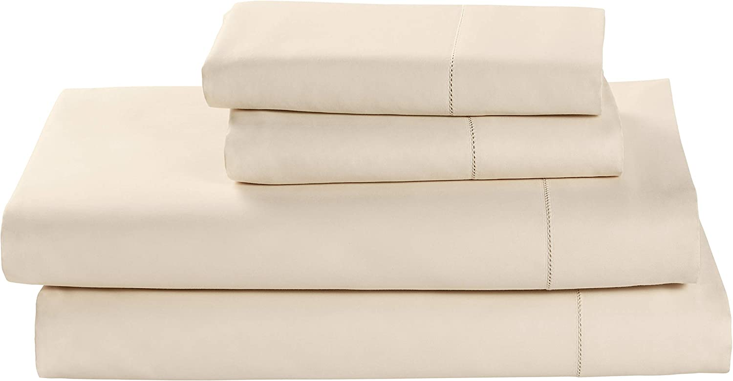 Stone & Beam 100% Supima Cotton Sheet Set, Soft and Easy Care, California King, Ivory