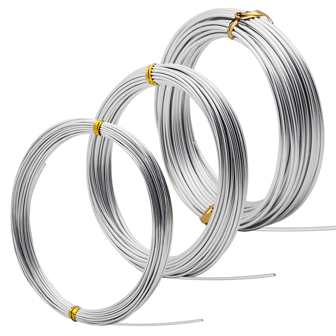 Coolrunner (3 Rolls)32.8 Feet Silver Aluminum Wire, Bendable Metal Craft Wire for Making Dolls Skeleton DIY Crafts