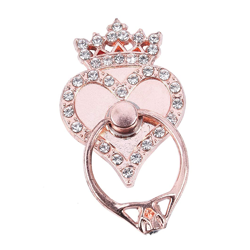 SODIAL(R) Crown Heart Car Universal Fashion Holder Stand Finger Ring Mount rose gold