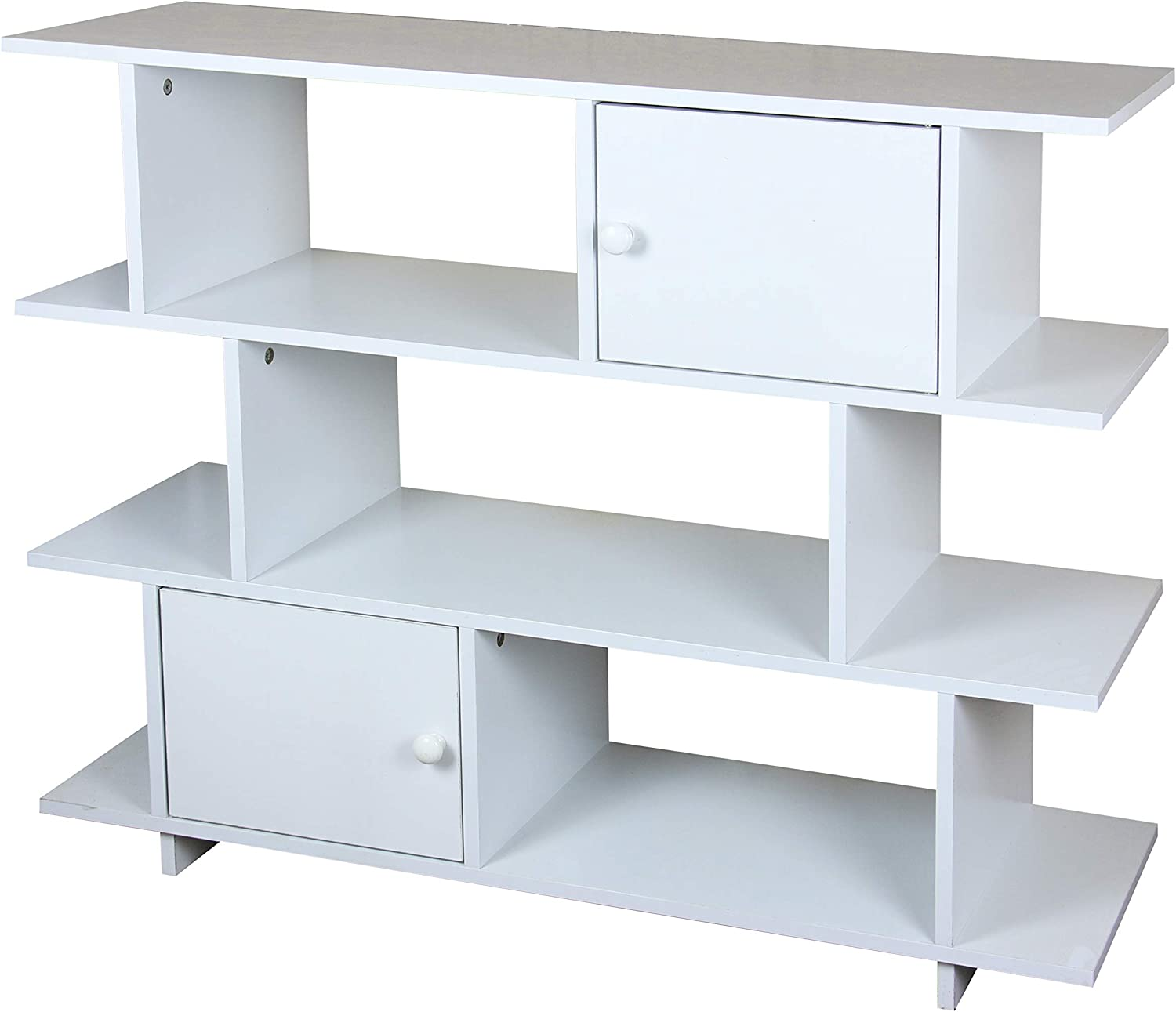 Home Basics 3 Tier Wood Display Book Shelf Organizer Unit with 2 Cabinet Doors (White)