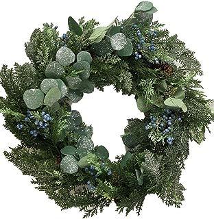 "KKC 24"" Christmas Wreath Farmhouse Door Artificial Eucalyptus Greenery Plain Berries"