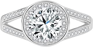 1.65 Ct Round Cut CZ Halo Split Shank Engagement Ring For Women 925 Sterling Silver 14K White Gold Finish